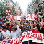 NYC protesters at ground zero. Many on the left have joined opposition to mosque.